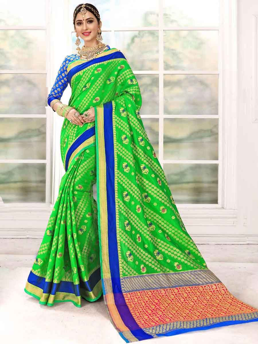 Lime Green Silk Handwoven Festival Saree