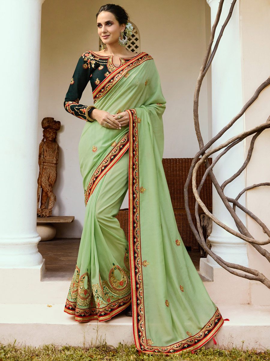 Moss Green Silk Embroidered Party Saree