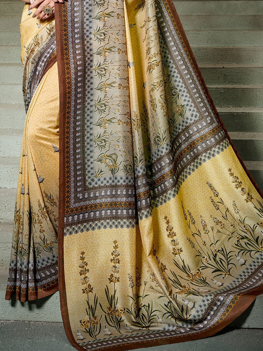 Cream Yellow Tussar Silk Printed Casual Saree
