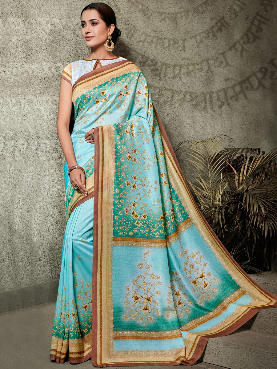 Tea Green Tussar Silk Printed Casual Saree