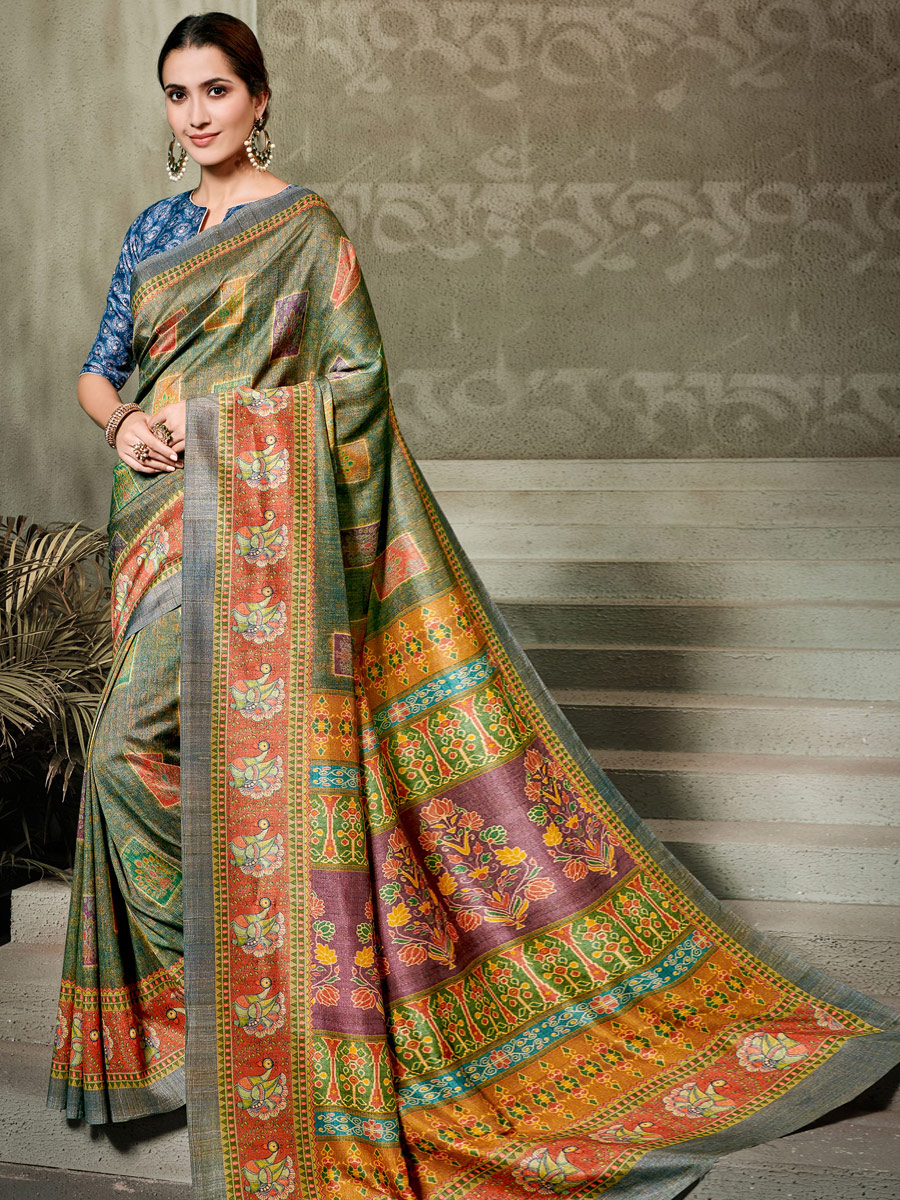 Fern Green Tussar Silk Printed Casual Saree