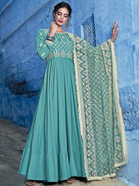 Green Maslin Silk Embroidered Party Lawn Kameez