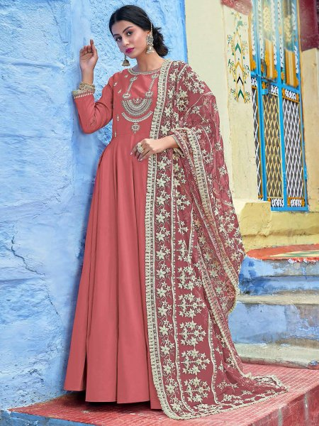 Pink Maslin Silk Embroidered Party Lawn Kameez