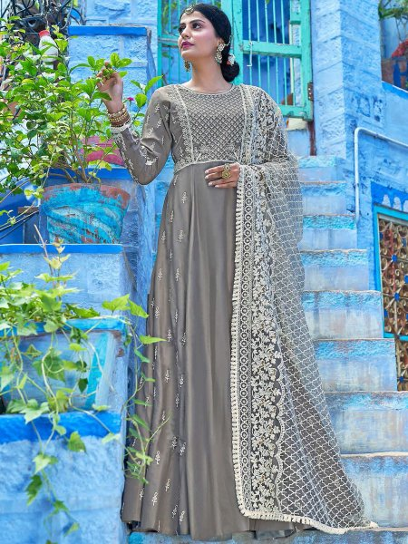 Gray Maslin Silk Embroidered Party Lawn Kameez