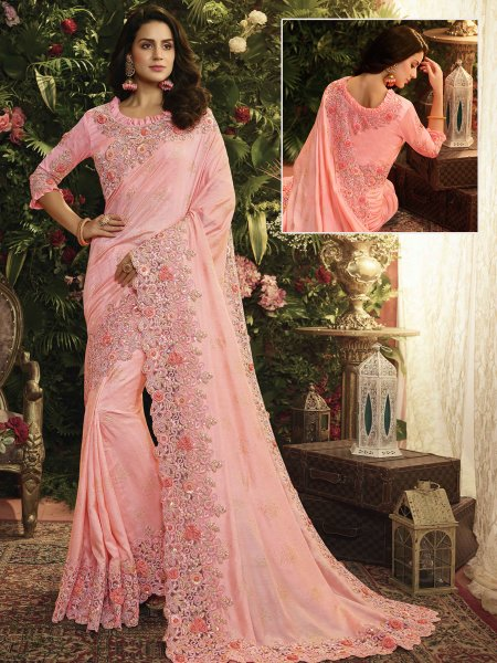 Light Pink Silk and Net Designer Party Saree