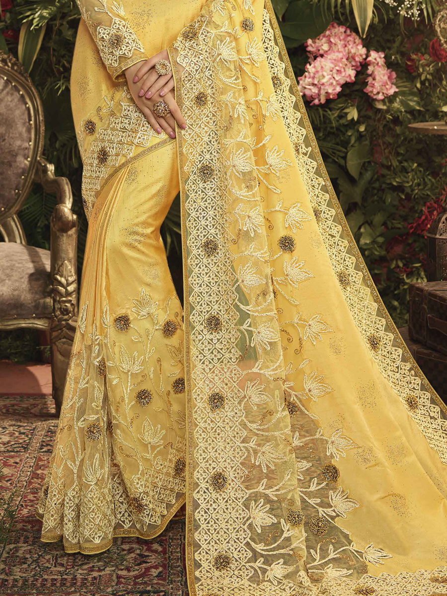 Jonquil Yellow Silk and Net Designer Party Saree