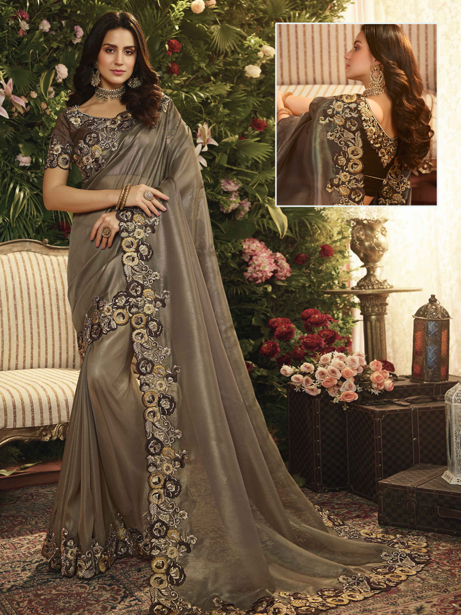 Gray Organza Designer Party Saree