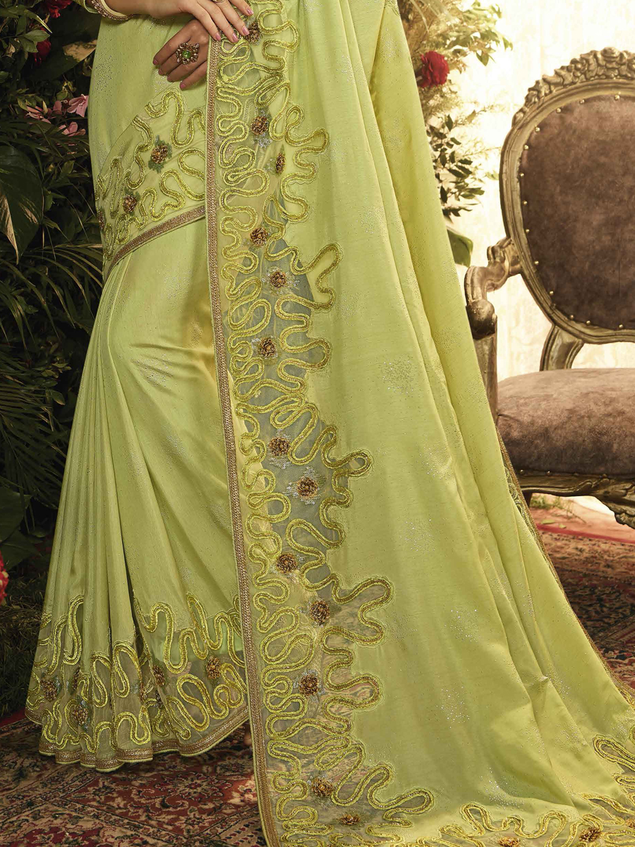Light Green Silk and Net Designer Party Saree