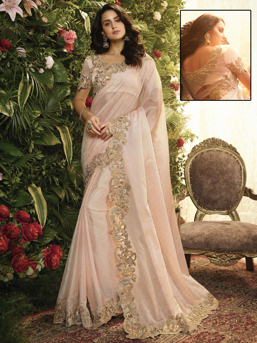 Light Pink Organza and Net Designer Party Saree