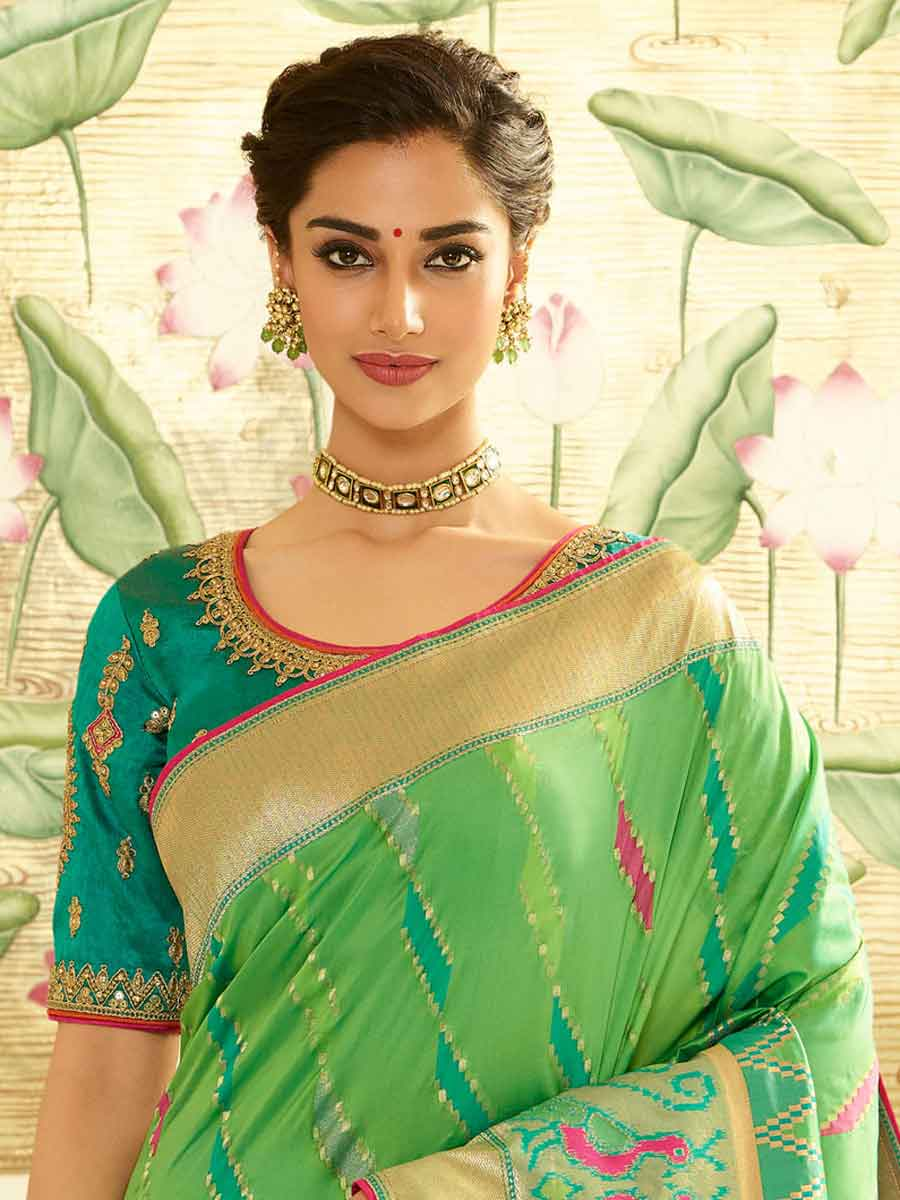 Light Green Banarasi Silk Embroidered Festival Saree