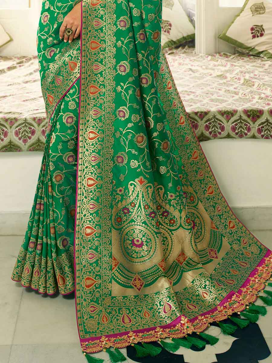 Forest Green Banarasi Silk Embroidered Festival Saree