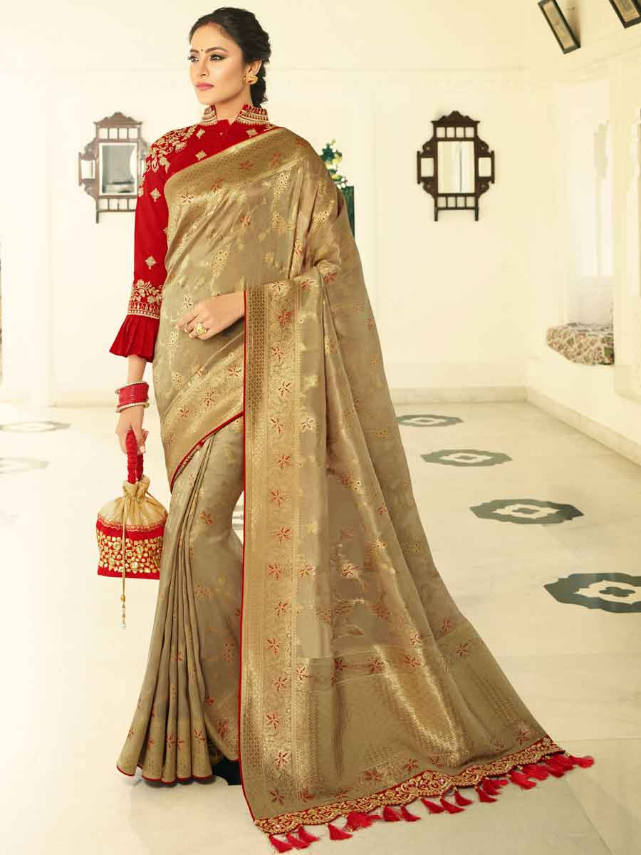 Golden Yellow Banarasi Silk Embroidered Wedding Saree