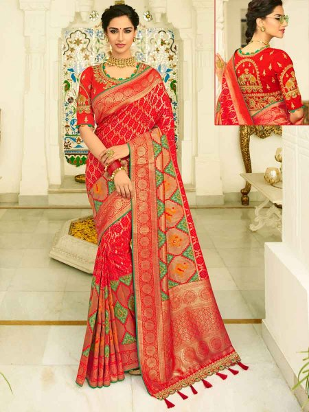 Vermilion Red Banarasi Silk Embroidered Festival Saree