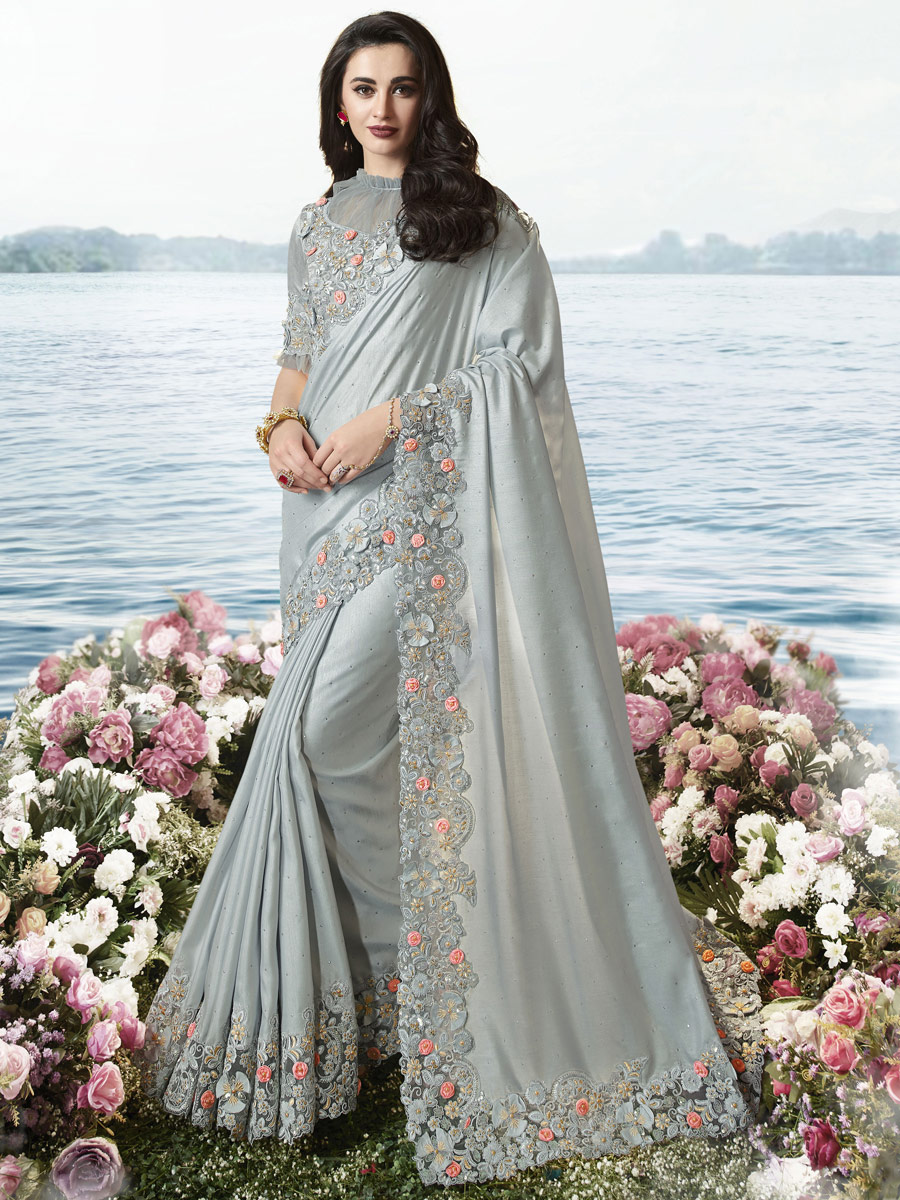Gray Viscose and Net Embroidered Party Saree