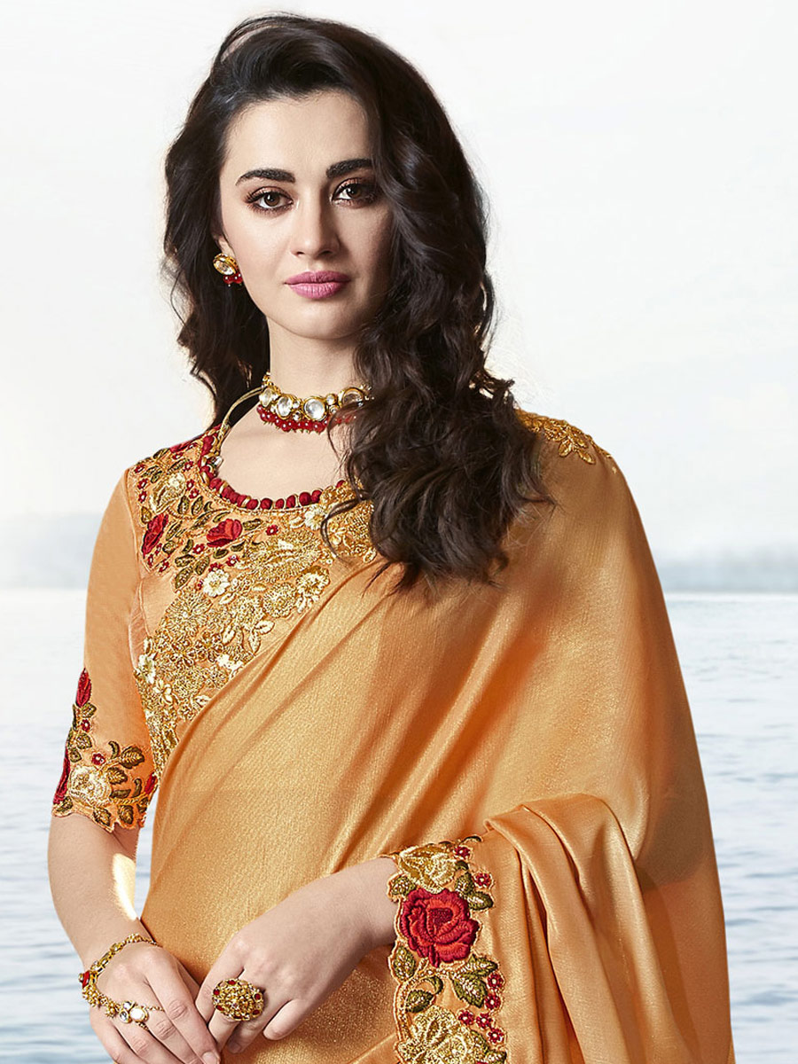 Dark Salmon Orange Viscose Embroidered Party Saree