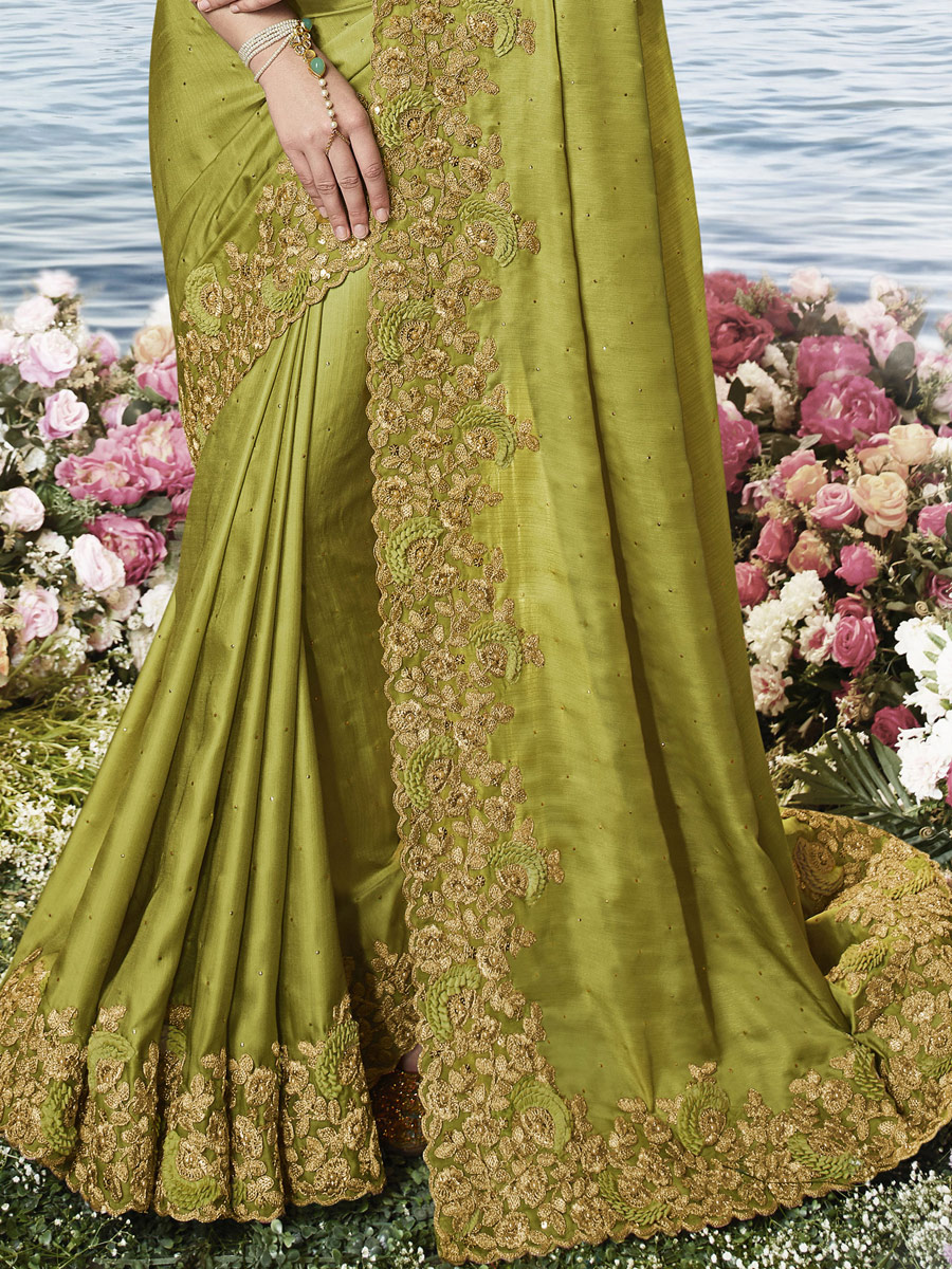 Olive Green Silk Embroidered Party Saree