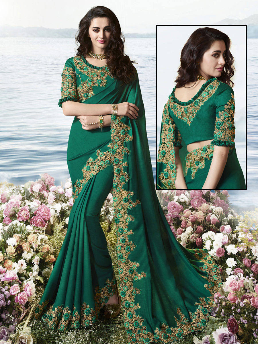 Hunter Green Satin Silk and Net Embroidered Party Saree