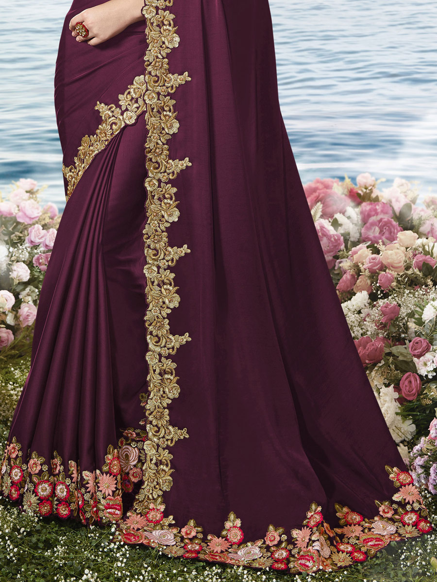 Dark Wine Red Satin Silk Embroidered Party Saree