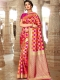Orange-Red and Cerise Pink Silk Handwoven Festival Saree