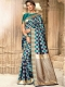 Cerulean Blue and Navy Blue Silk Handwoven Festival Saree