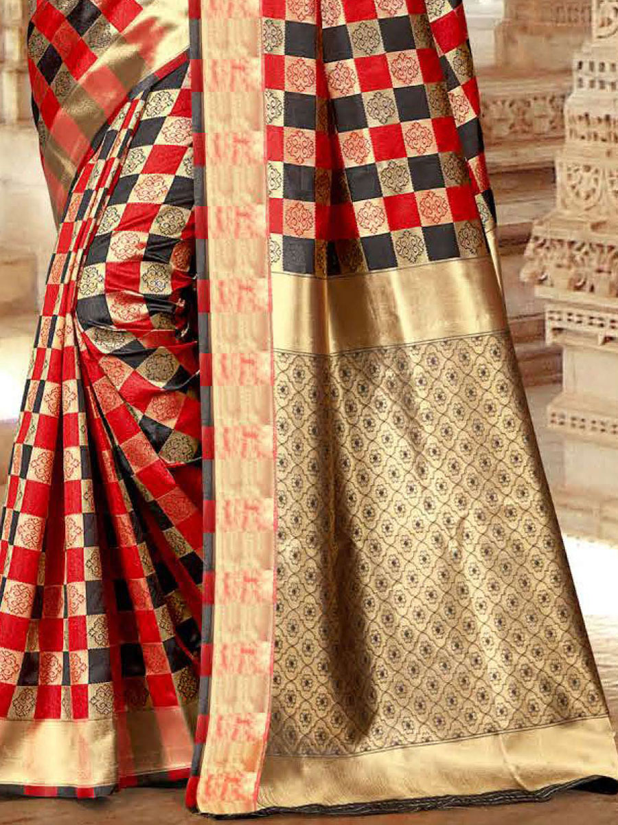 Vermilion Red and Black Silk Handwoven Festival Saree