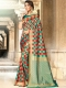 Pine Green and Vermilion Red Silk Handwoven Festival Saree