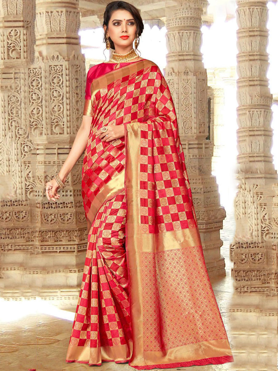 Vermilion Red and Beige Yellow Silk Handwoven Festival Saree