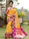 Amber Orange Silk Handwoven Festival Saree