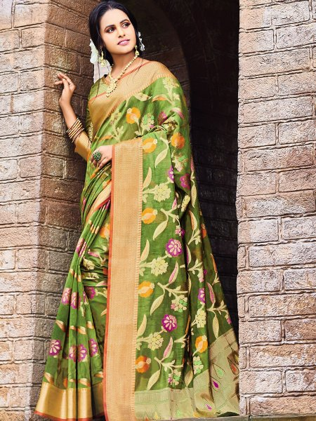 Olive Drab Green Silk Handwoven Festival Saree