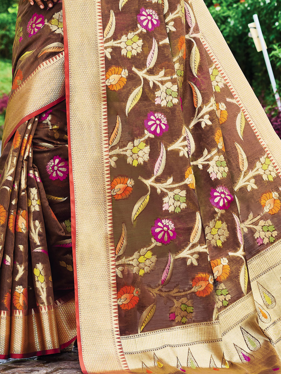 Sepia Yellow Silk Handwoven Festival Saree