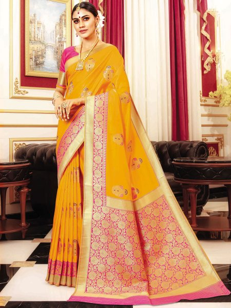 Amber Orange Banarasi Silk Handwoven Festival Saree