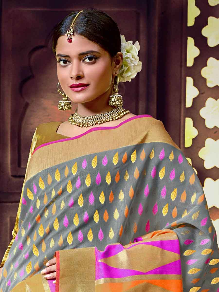 Slate Gray and Beige Yellow Cotton Handloom Festival Saree