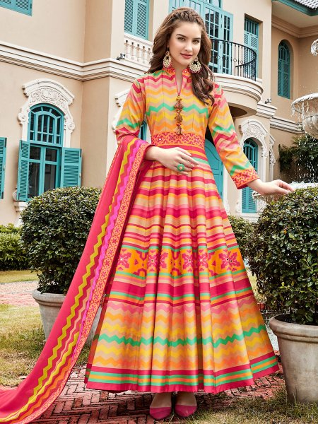 Cerise Pink and Salmon Orange Silk Printed Party Lawn Kameez