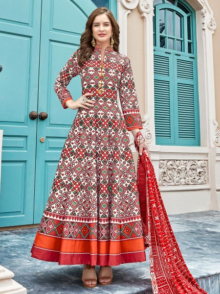 White and Rose Madder Red Silk Printed Party Lawn Kameez