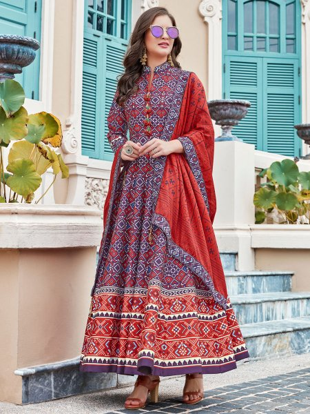Royal Blue Silk Printed Party Lawn Kameez