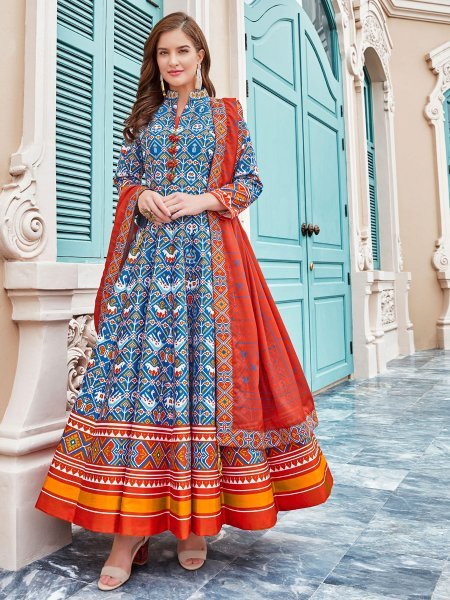 Deep Sky Blue Silk Printed Party Lawn Kameez
