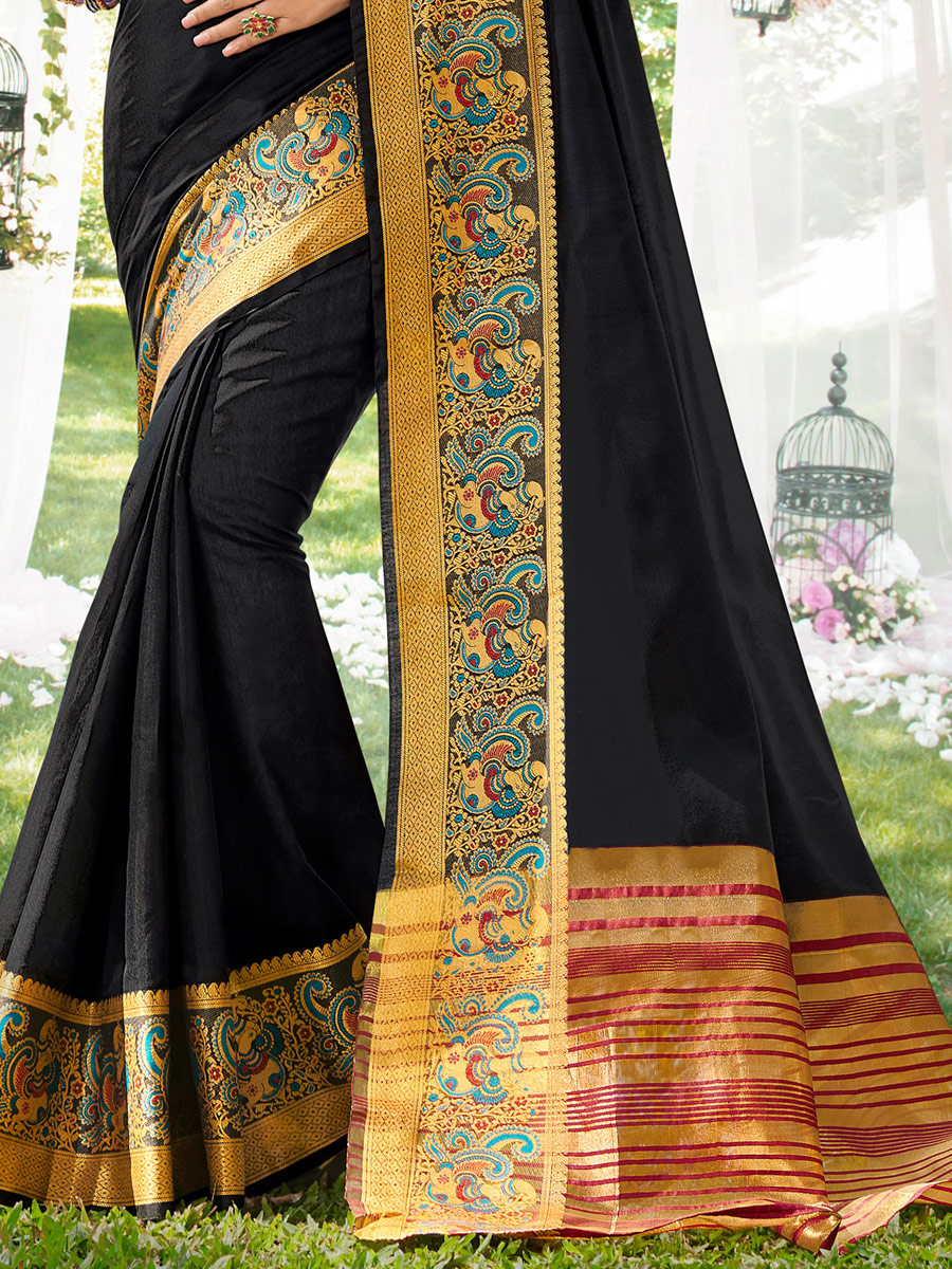 Black Khadi Silk Handwoven Festival Saree