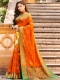 Pumpkin Orange Banarasi Silk Handwoven Festival Saree