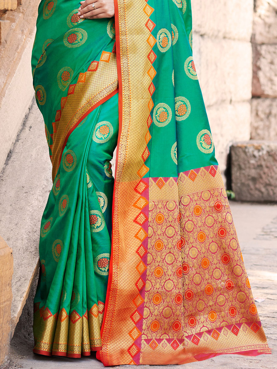 Sea Green Banarasi Silk Handwoven Festival Saree