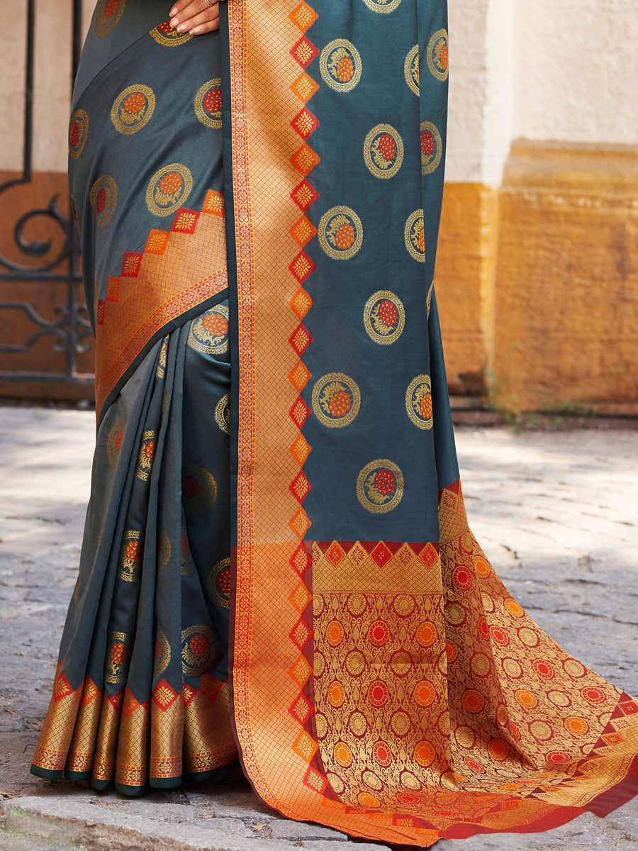 Dark Gray Banarasi Silk Handwoven Festival Saree