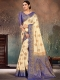 Beige Yellow and Dark Blue Nylon Silk Handwoven Festival Saree