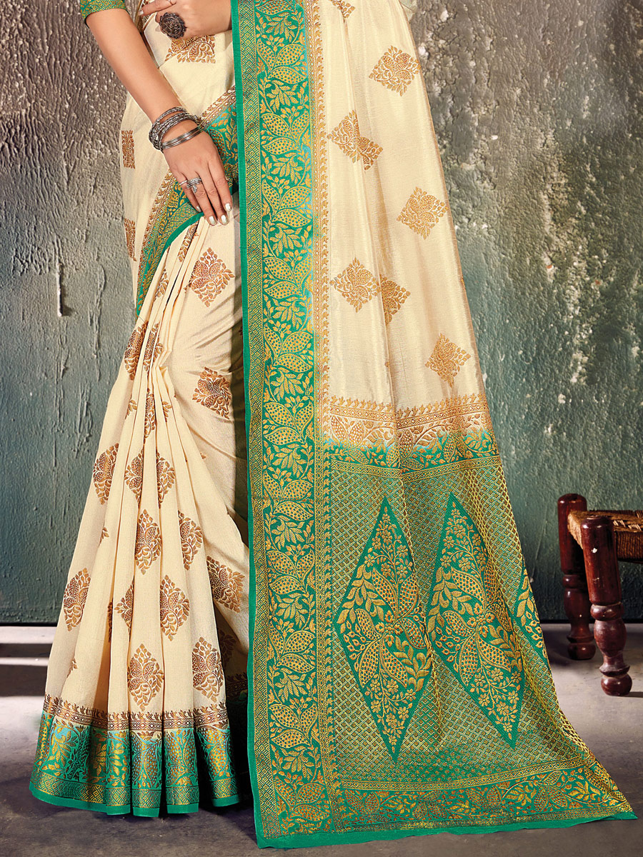 Beige Yellow and Green Nylon Silk Handwoven Festival Saree