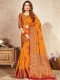 Pumpkin Orange Nylon Silk Handwoven Festival Saree