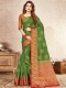 Dark Green Nylon Silk Handwoven Festival Saree