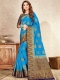 Deep Sky Blue Nylon Silk Handwoven Festival Saree
