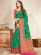 Pine Green Nylon Silk Handwoven Festival Saree