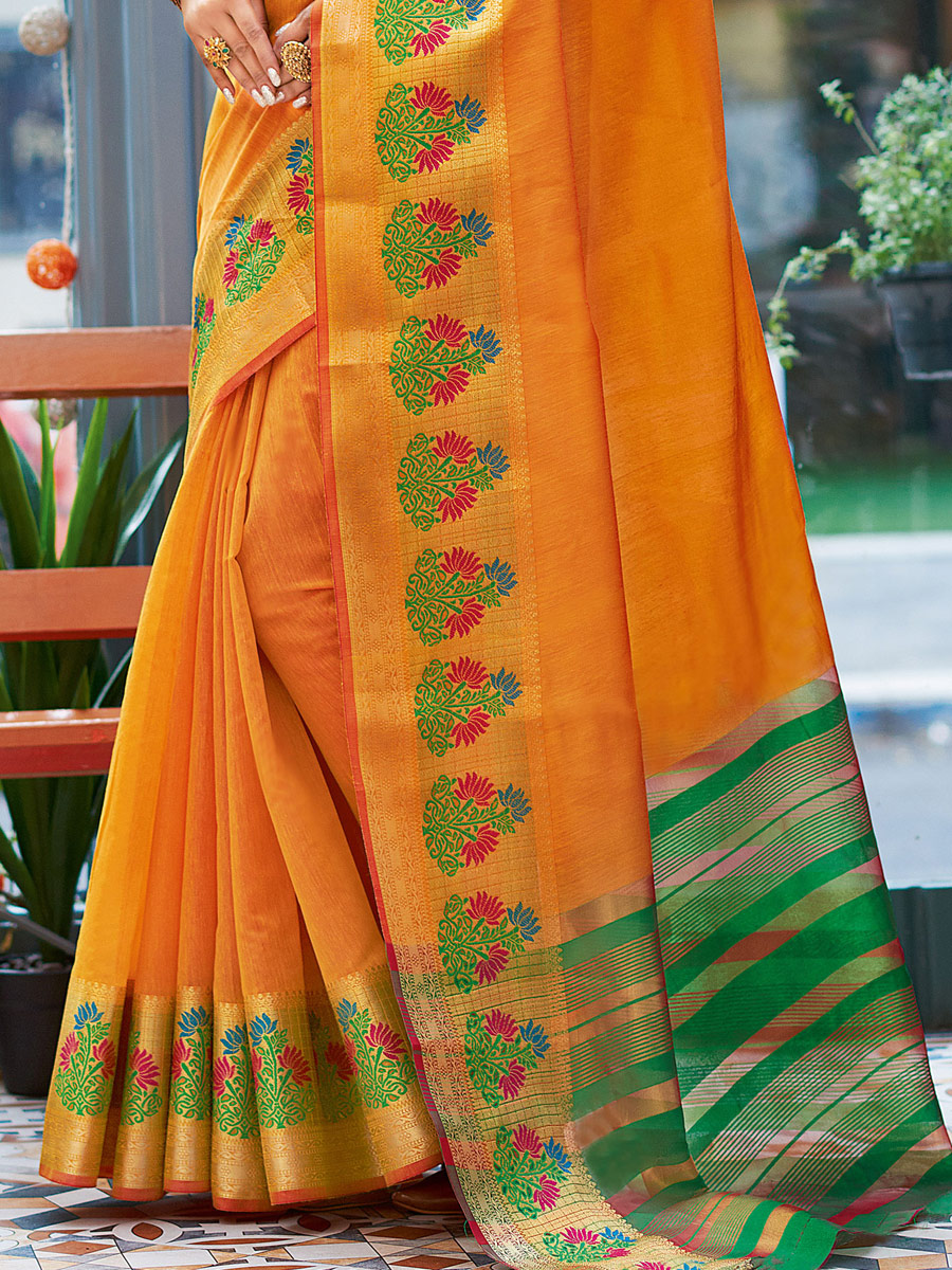 Orange Peel Khadi Silk Handwoven Festival Saree