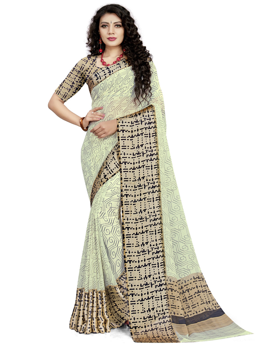 Cream Yellow Faux Georgette Printed Casual Saree