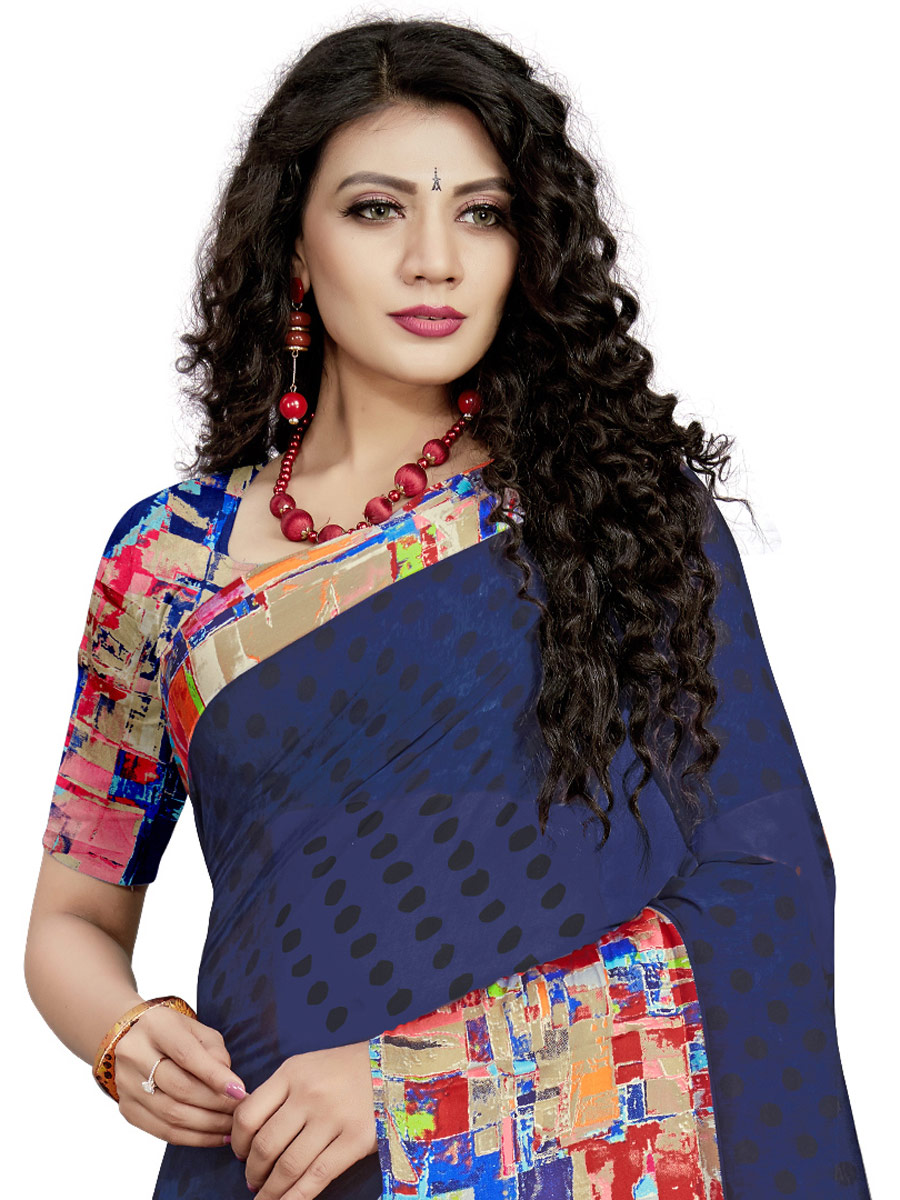 Navy Blue Faux Georgette Printed Casual Saree