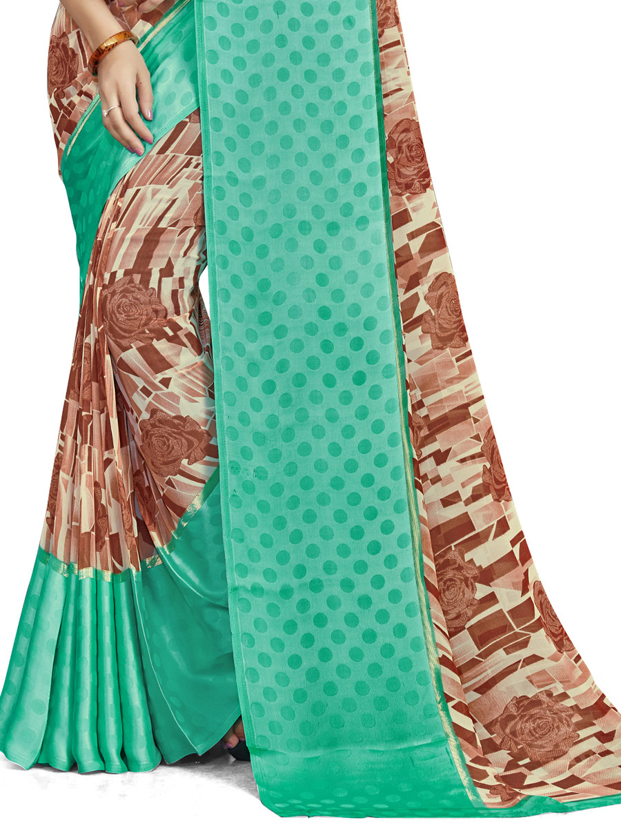 Copper Brown and Sea Green Faux Georgette Printed Casual Saree